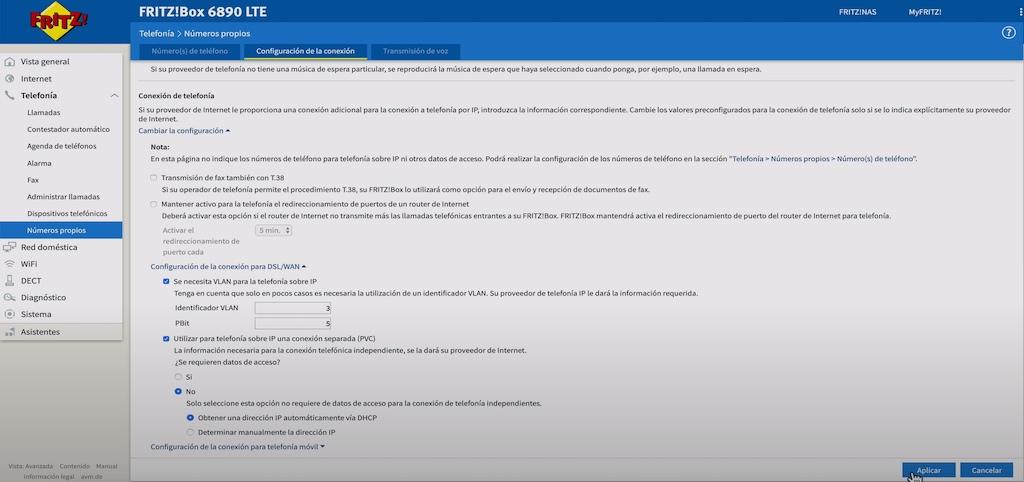 Configuración VLAN SIP Movistar en AVM