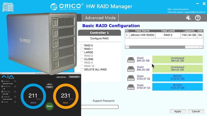 Configuración por software caja RAID Orico
