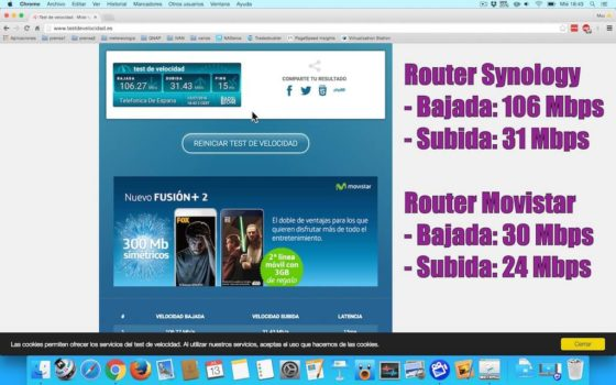 Diferencias router Synology y Movistrar en 2,4 y 5 GHz