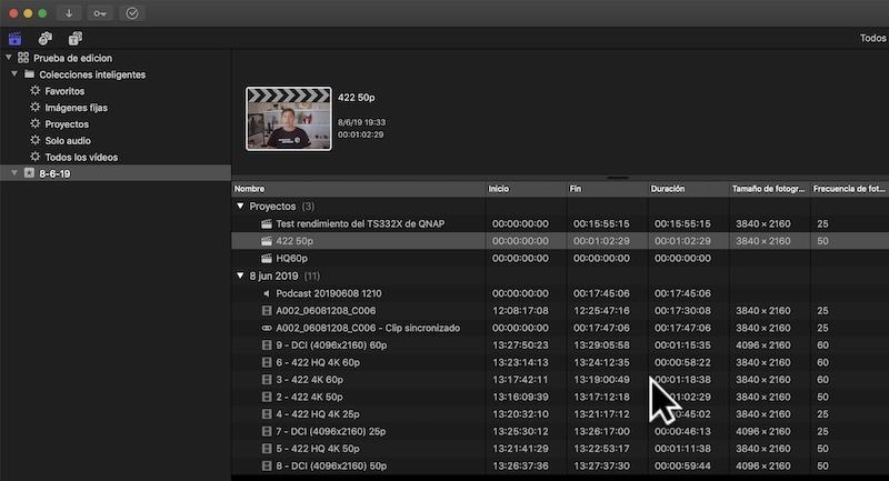 FCPX accediendo a un NAS con vídeos en ProRes 422, ProRes HQ y DCI