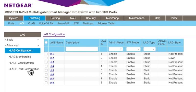 LACP Netgear MS510TX y MS510TXPP