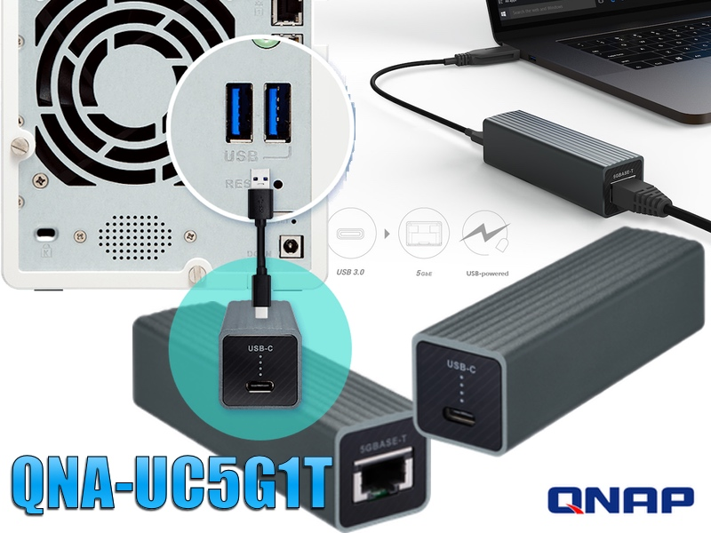 adaptador de USB 3.0 a 5GbE 2 2.5GbE, el QNA-UC5G1T