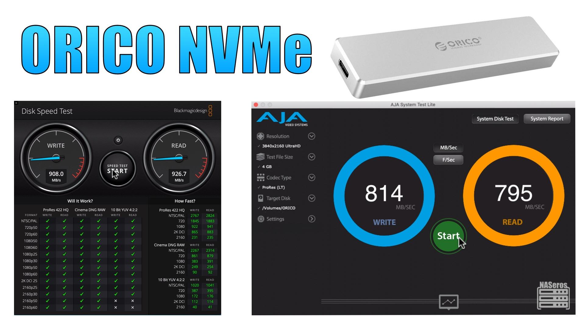 Test de velocidad del orico NVMe