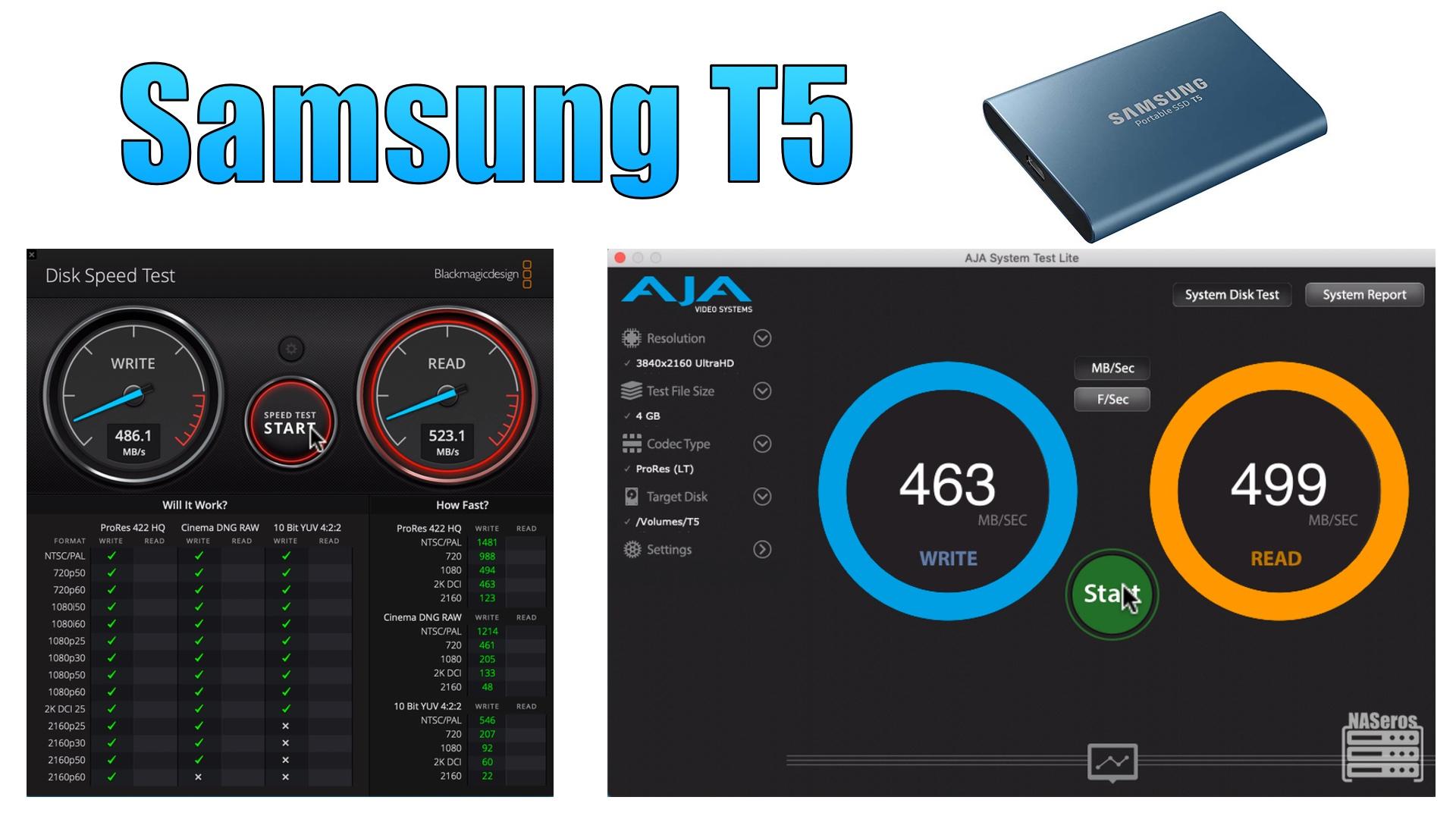 Test de velocidad del SSD Samsung T5