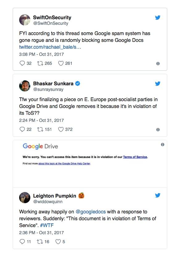 Tweets google docs problemas
