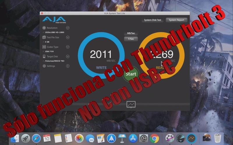 advertencia sobre la carcasa NVMe Thunderbolt 3