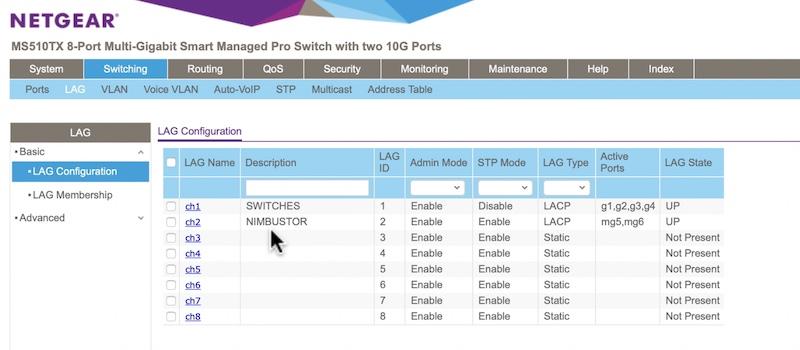 configuración LACP Netgear MS510TX