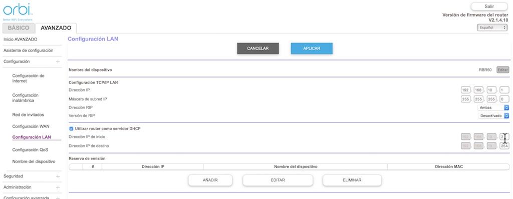 Orbi de Netgear como Access Point nueva IP