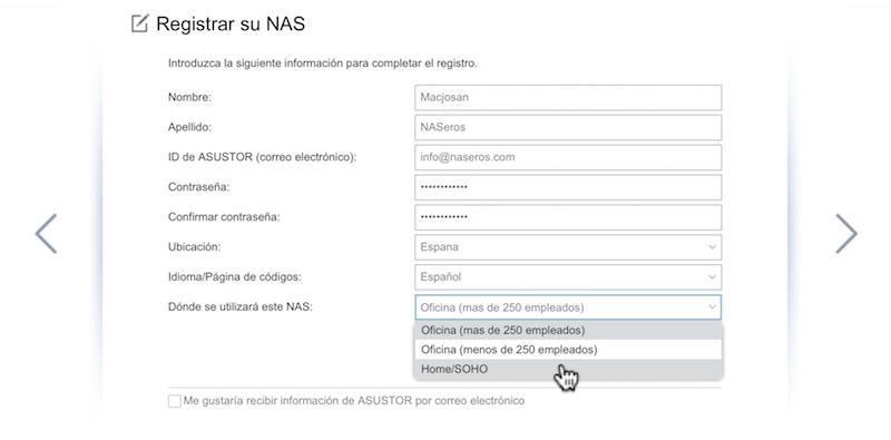 configuración inicial ASUSTOR registro NAS