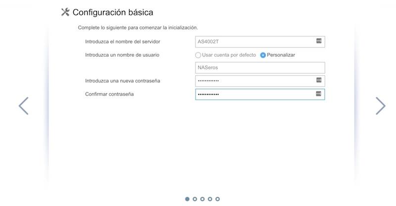 configuración inicial ASUSTOR nombre servidor