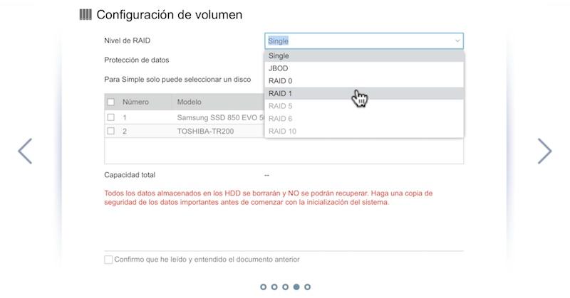 configuración inicial ASUSTOR volumenes