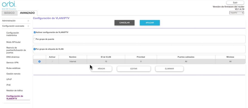 configuración inicial de Orbi VLAN