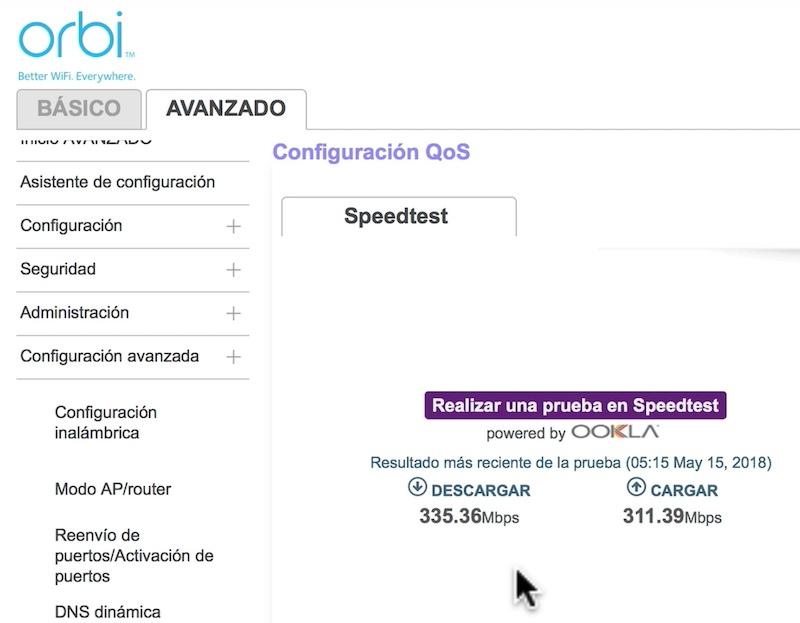 configuración inicial de Orbi test velocidad
