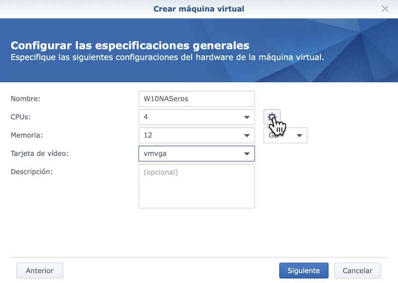 configuración máquina virtual synology