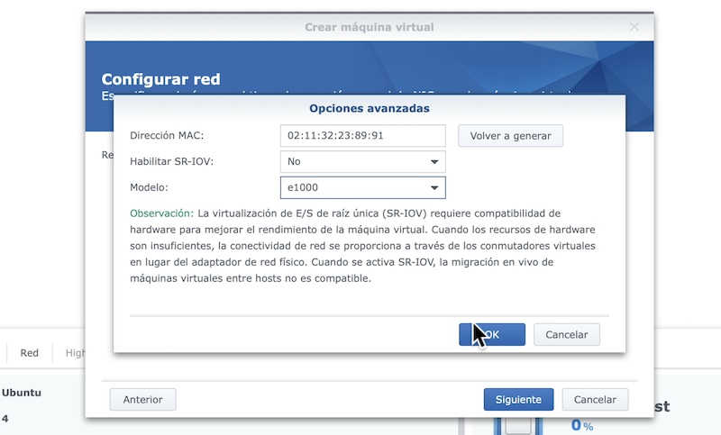 configuración de red vm synology