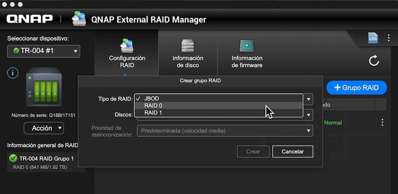 configuración volúmenes QNAP External RAID Manager