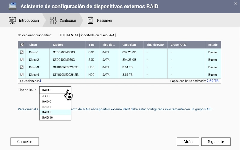 creación RAID unidad expansión NAS