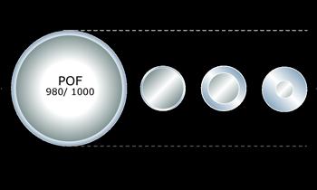 diámetro núcleo fibra óptica plástica