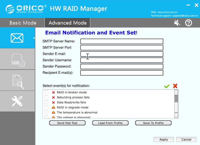 email hw raid manager orico