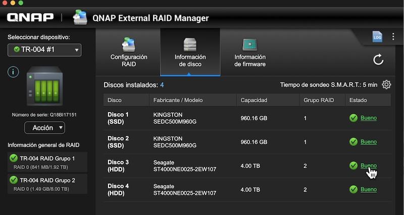 información discos QNAP External RAID Manager