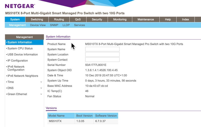 interfaz web switch Netgear MS510TX