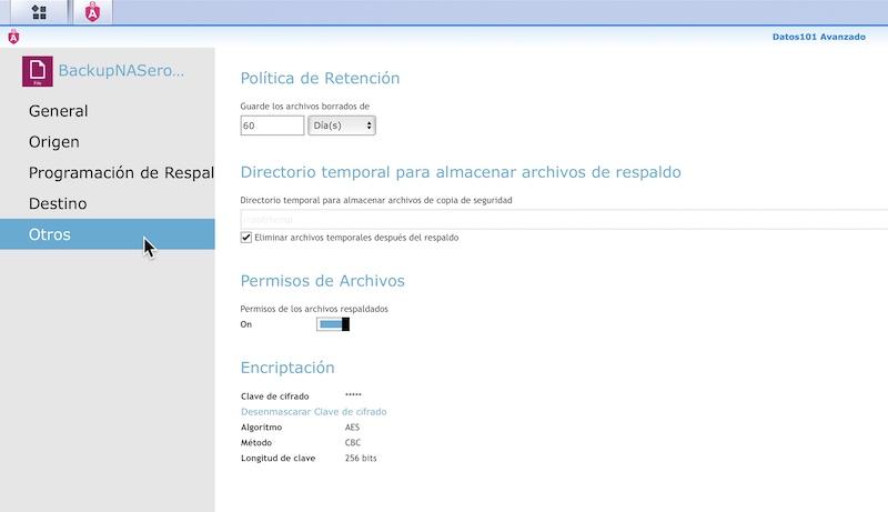 panel control datos101 synology