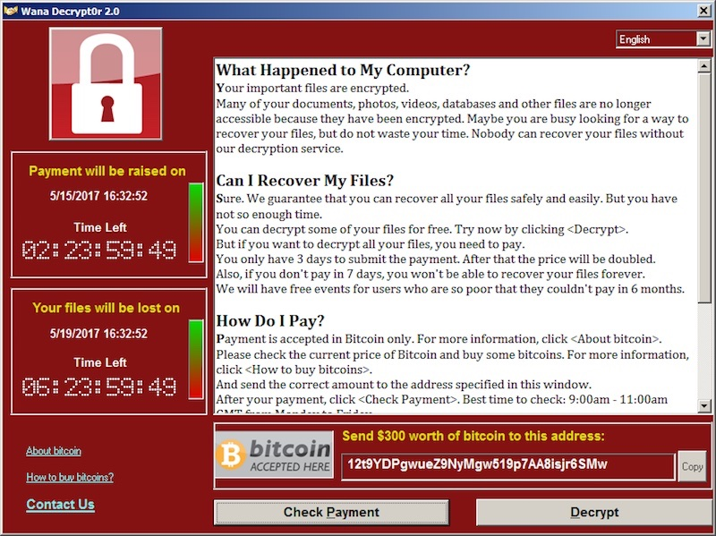 captura de pantalla del ransomware wannacry