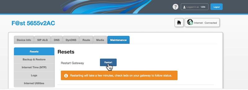 restart Sagemcom Fast 5655v2