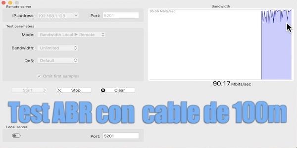 test cable 100m fibra óptica plástica con velocidad adaptativa ABR
