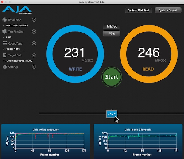 test velocidad toshiba N300 con aja system