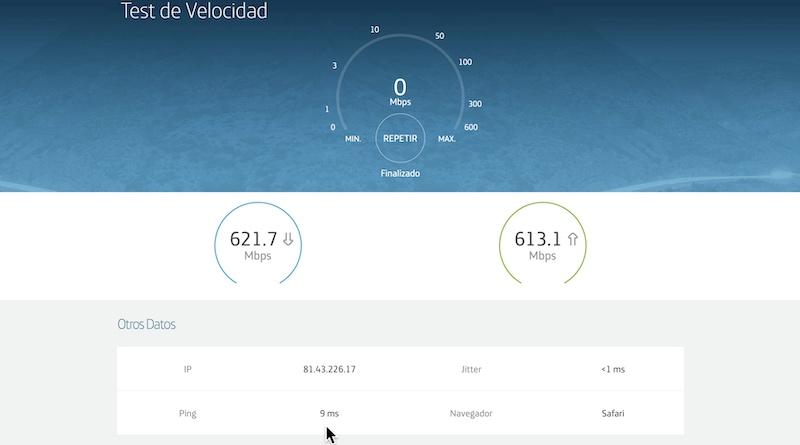 test velocidad fibra plástica movistar